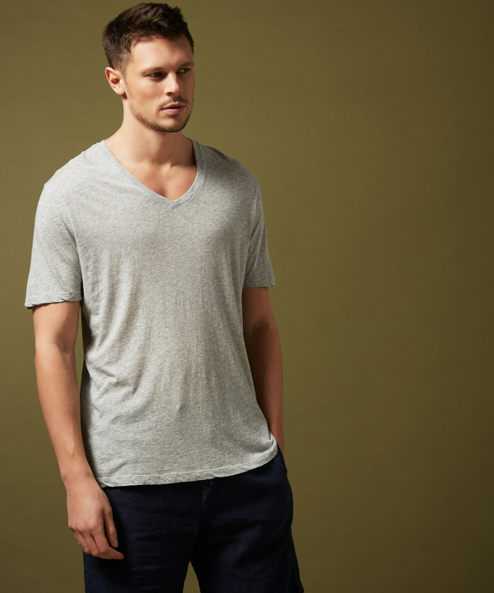 Grey light jersey v-neck t-shirt