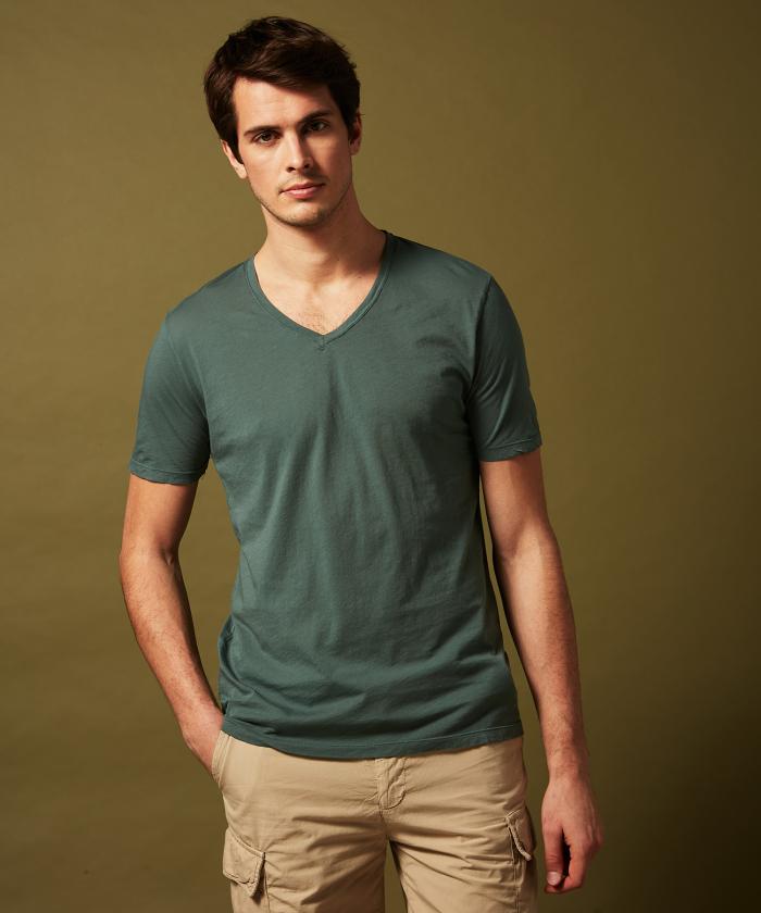 Tee-shirt col V en light jersey vert
