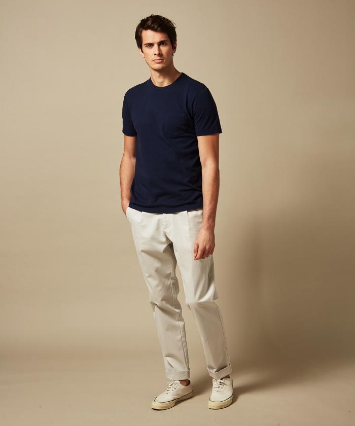 Tee-shirt en coton slub marine