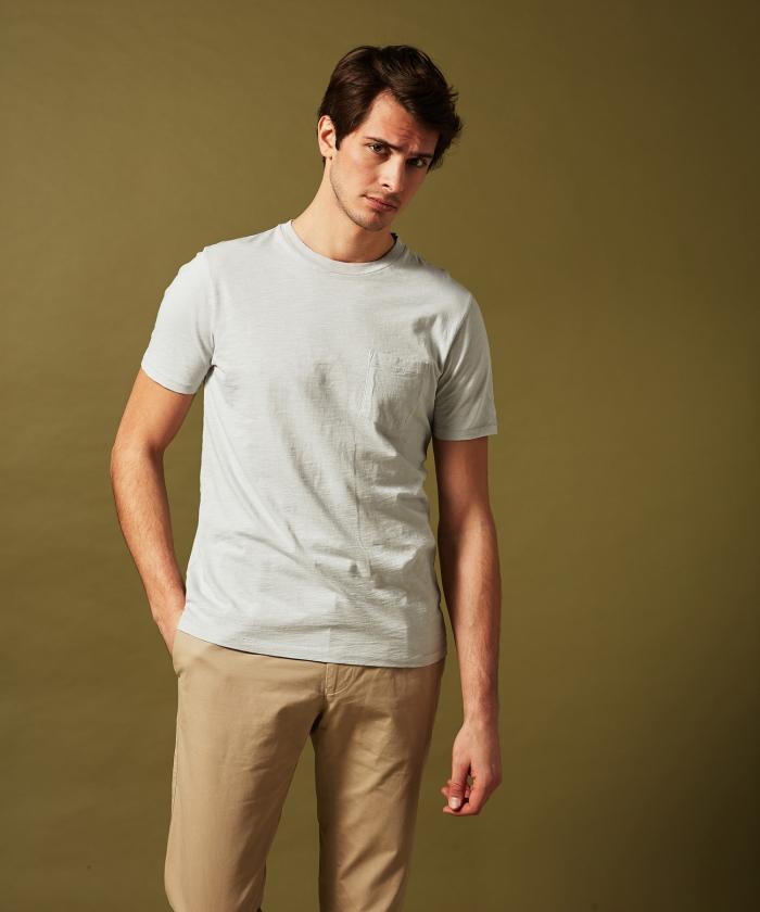 Tee-shirt en coton slub gris