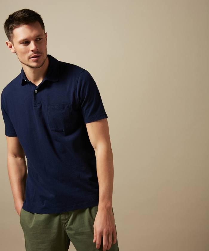 Navy slub cotton polo