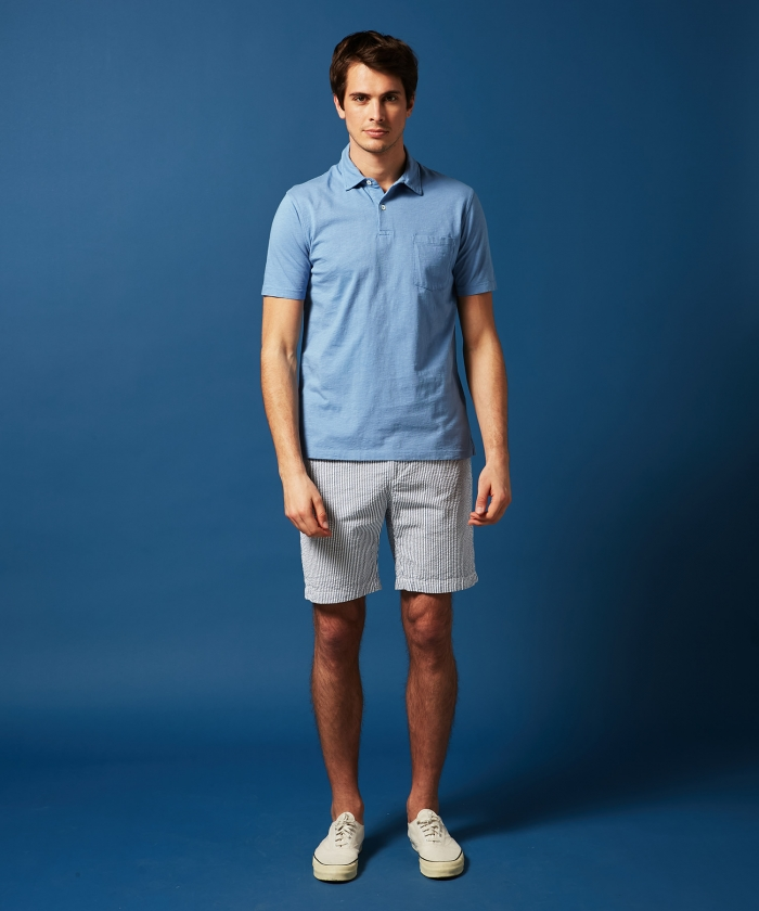 Polo en coton slub chambray