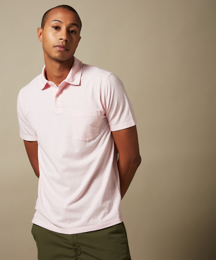 Polo en coton slub rose