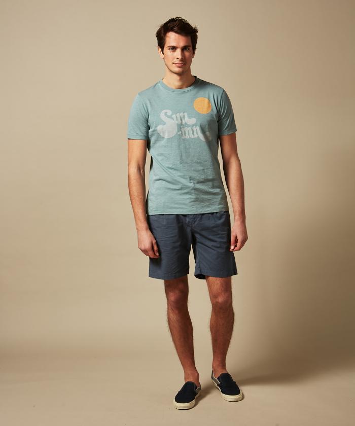 Tee-shirt vert de gris imprimé 'Sun Inn'