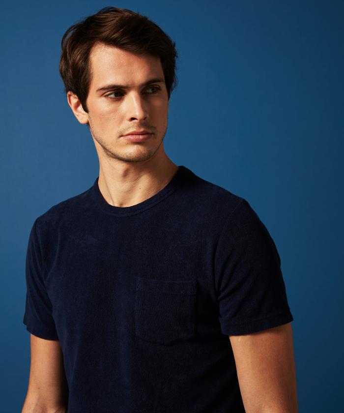 T-shirt en coton éponge bleu