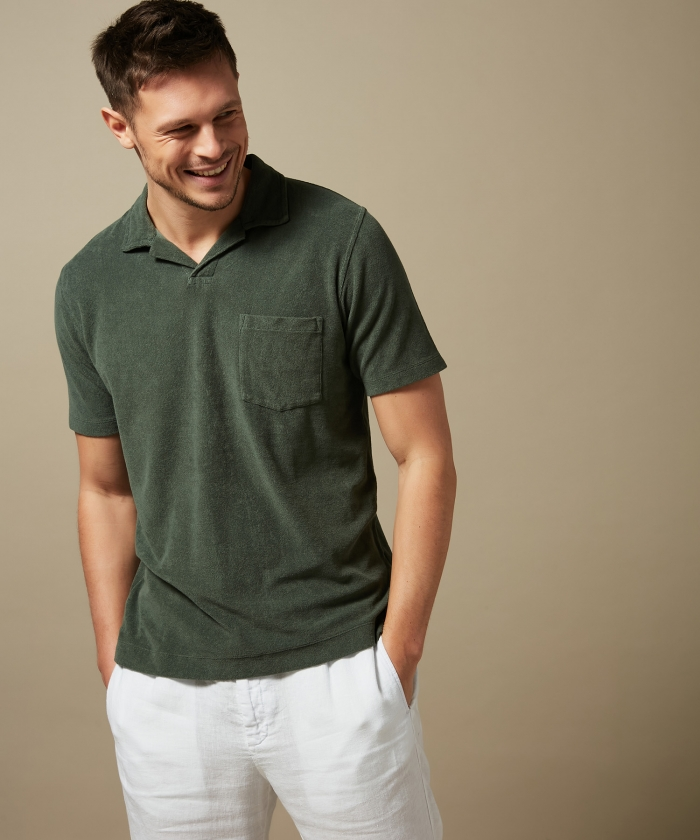 Green towelling polo
