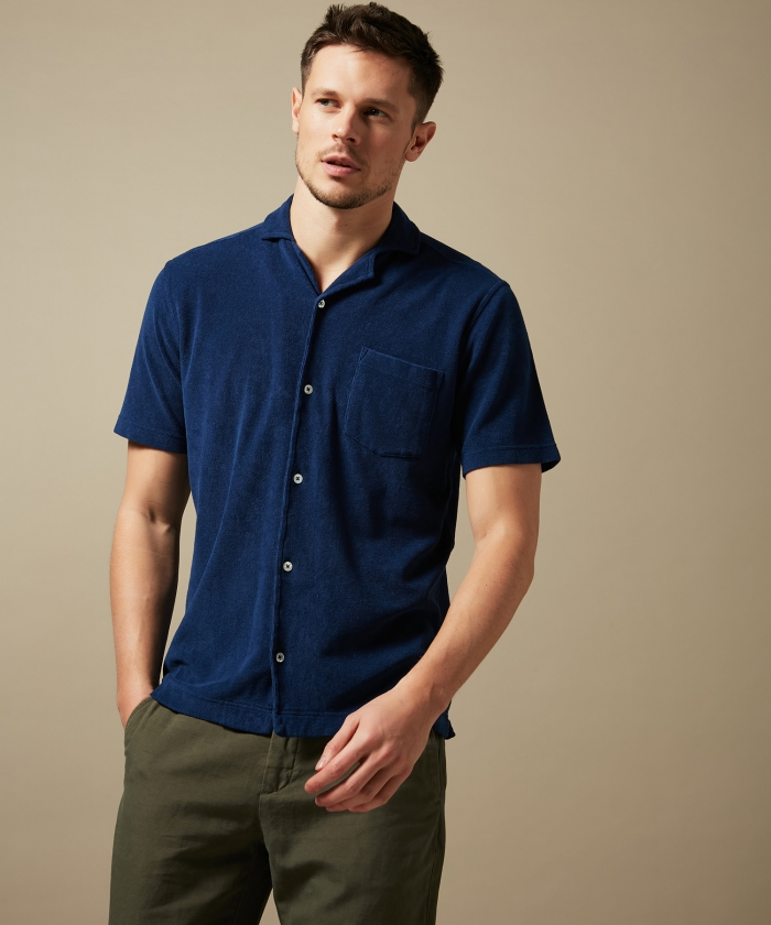 Cobalt towelling polo shirt