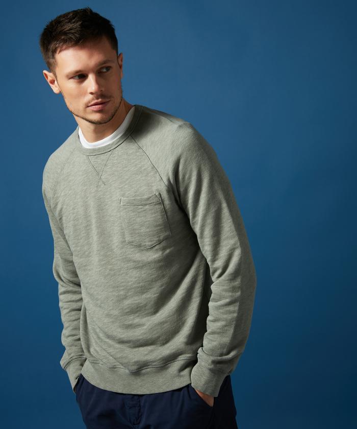 Sweatshirt raglan vert de gris