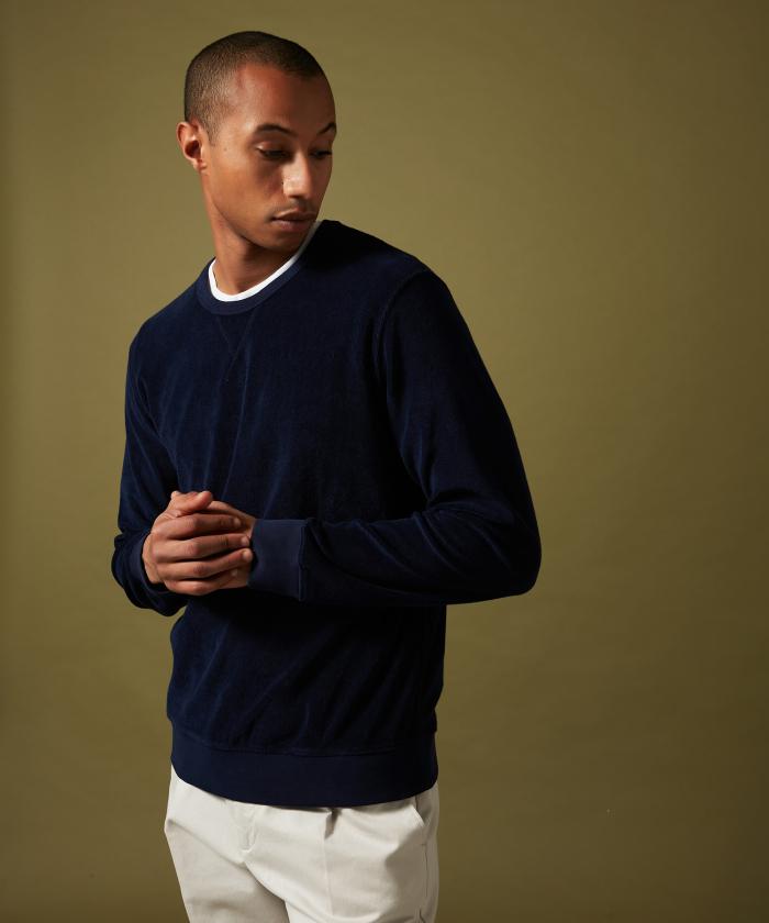 Sweatshirt en coton éponge marine