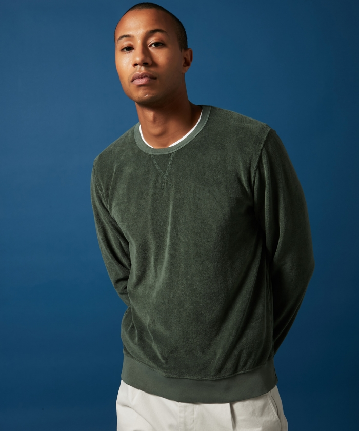 Forest green towelling sweatshirt
