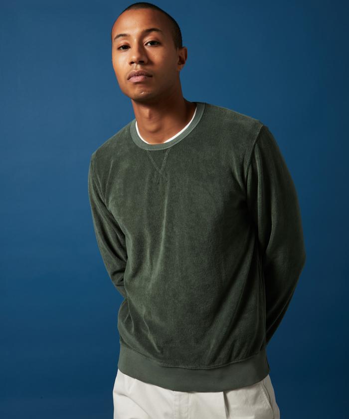 Sweatshirt en coton éponge vert