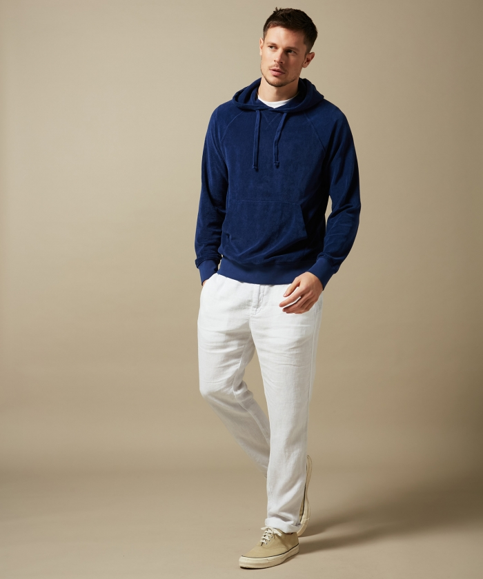 Sweat à capuche en coton éponge bleu indigo