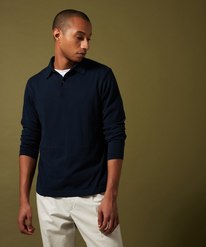 Navy light cotton polo