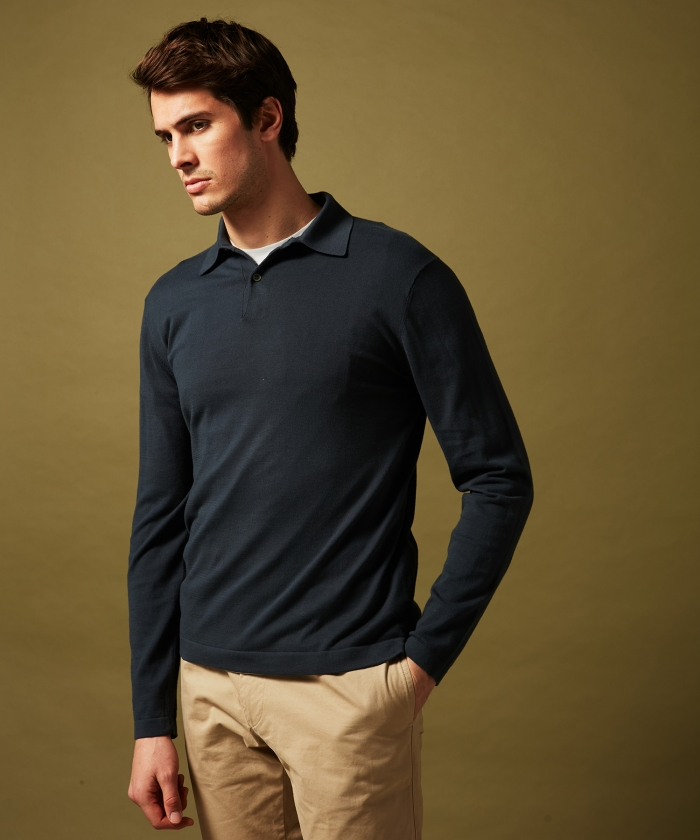 Polo en light jersey carbone