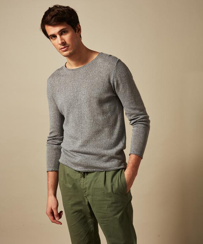 Pull col rond en lin et coton gris