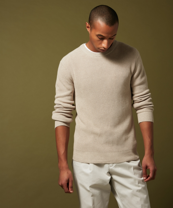 Cotton and cashmere natural rib sweater