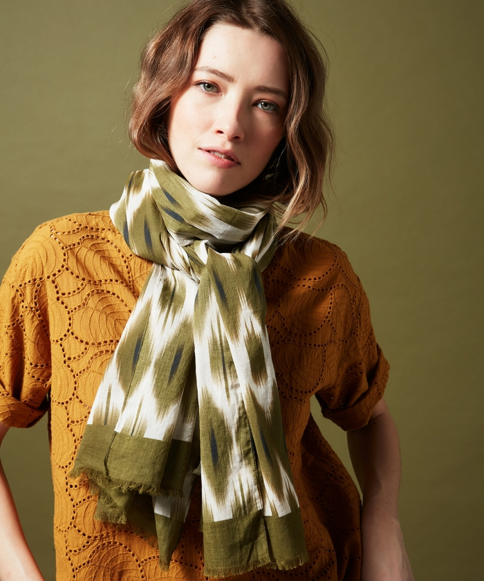 Army Ikat cotton scarf