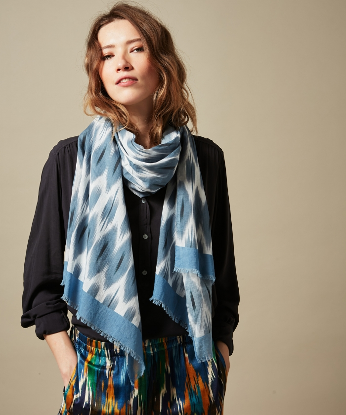 Blue Ikat cotton scarf