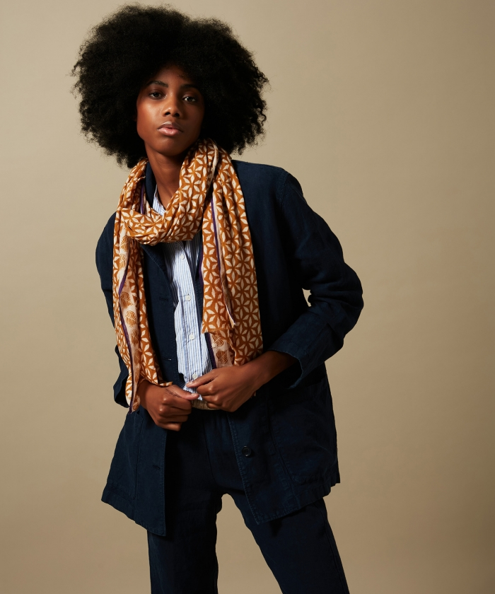 Peanut block print cotton scarf