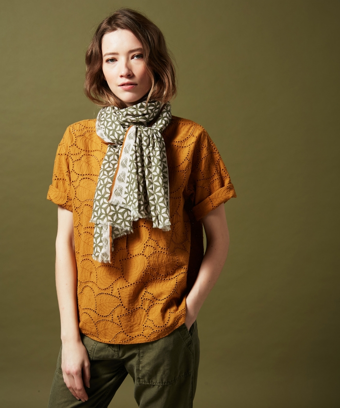 Army block print cotton scarf