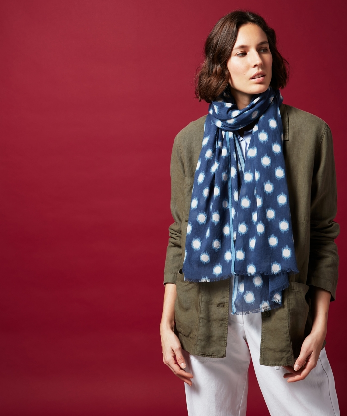 Navy dots cotton scarf