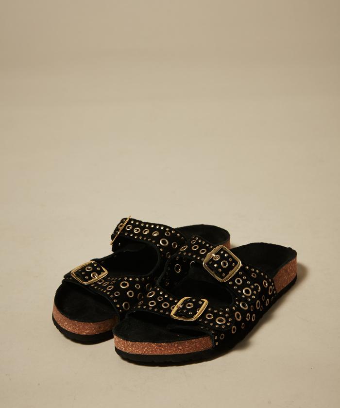 Sandales noires à boucles