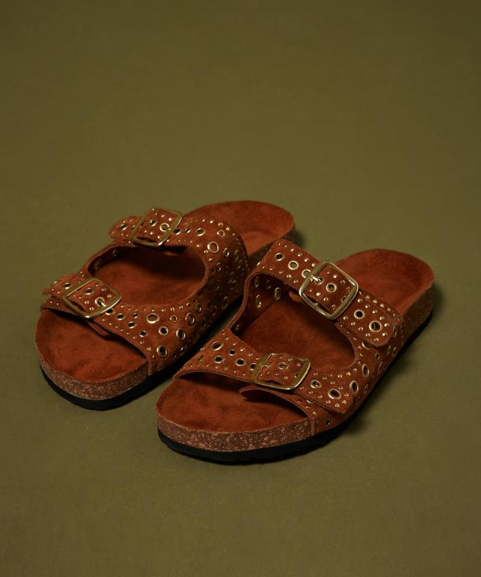Sandales camel à boucles