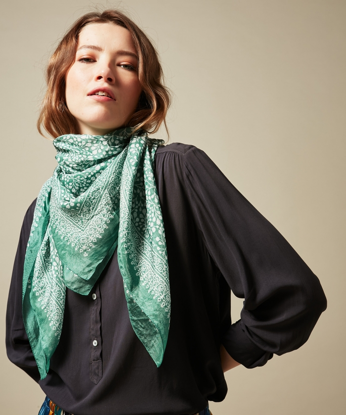 Green square silk scarf