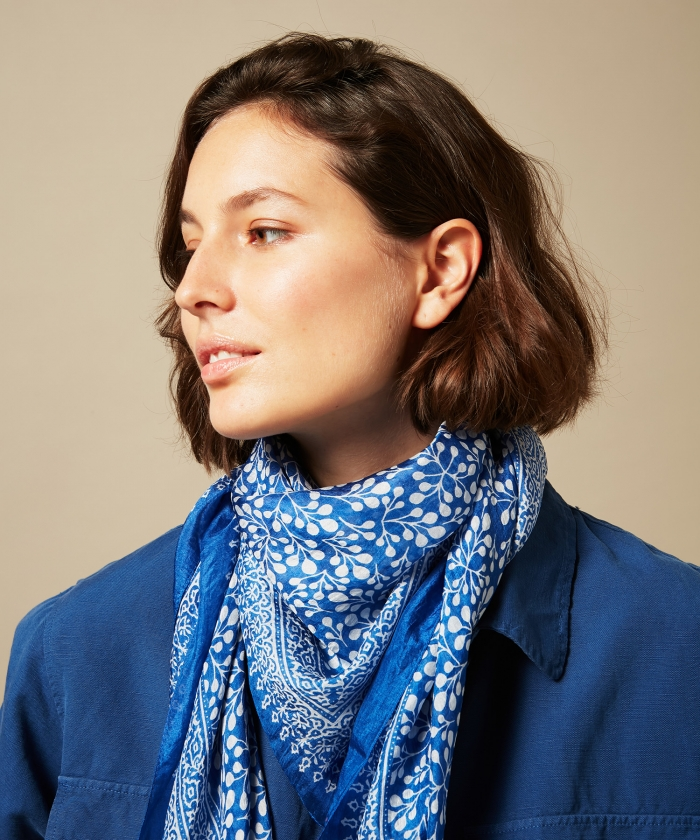 Blue square silk scarf
