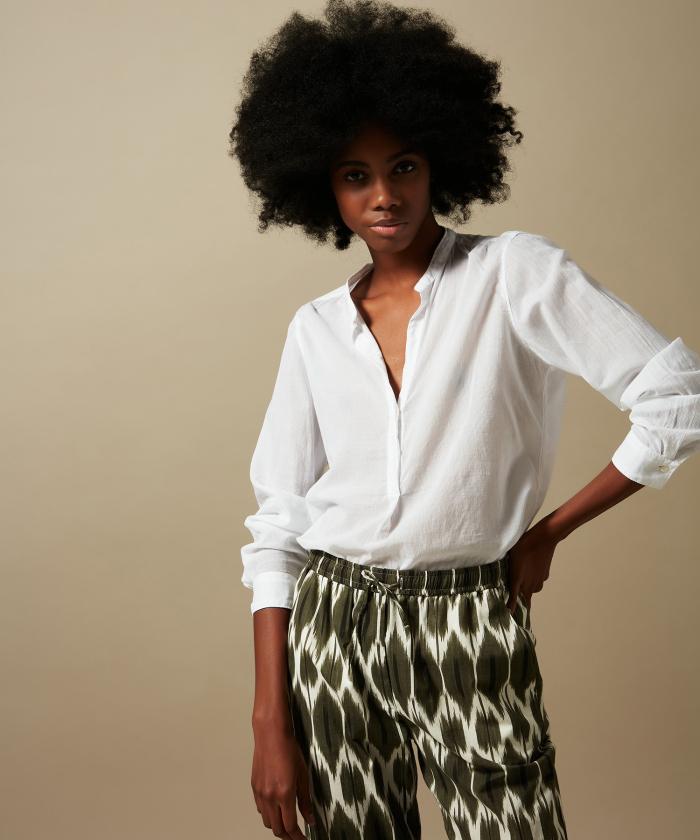 Carta openwork white cotton voile shirt