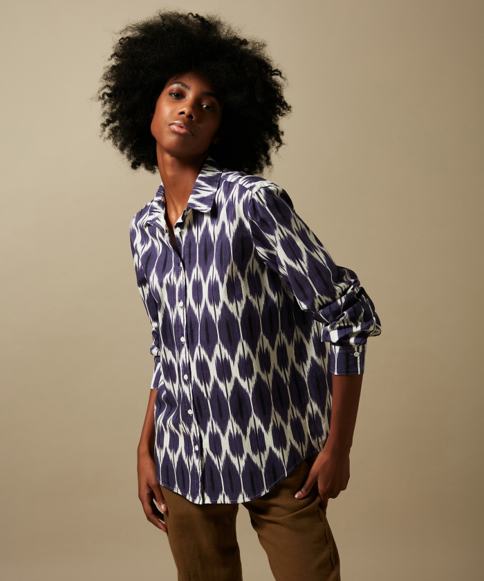 Purple Ikat cotton Century shirt