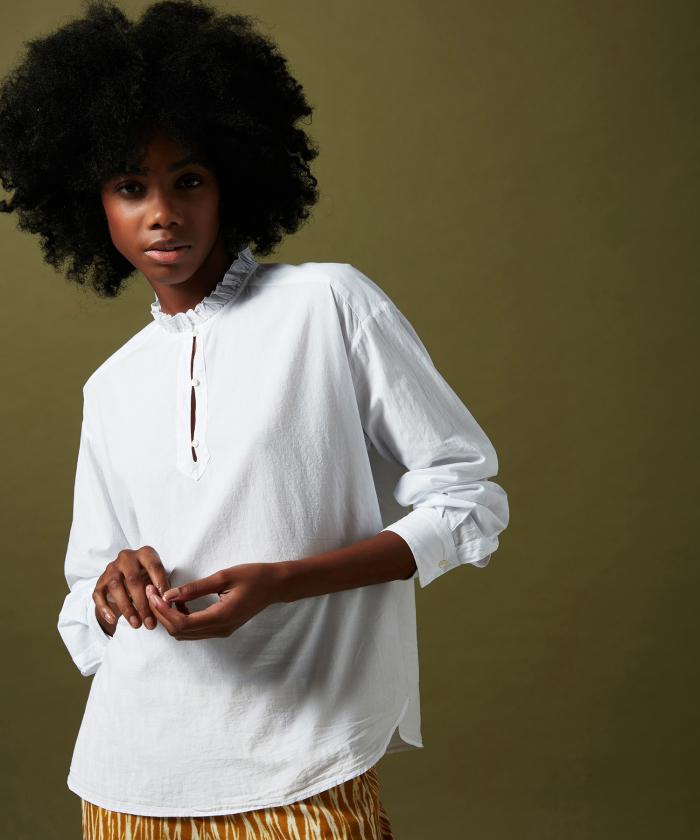 Chemise Charlotte blanche en voile de coton