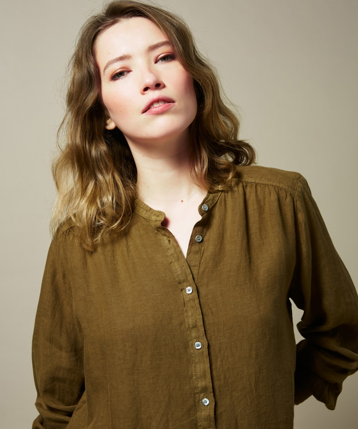 Yucca brown linen Codex shirt