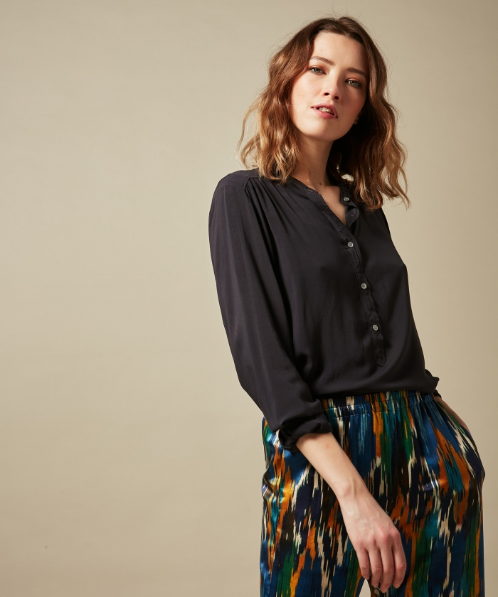 Charcoal viscose voile Codex shirt