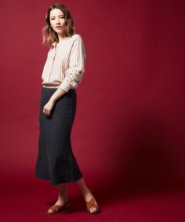 Charcoal linen Jima skirt