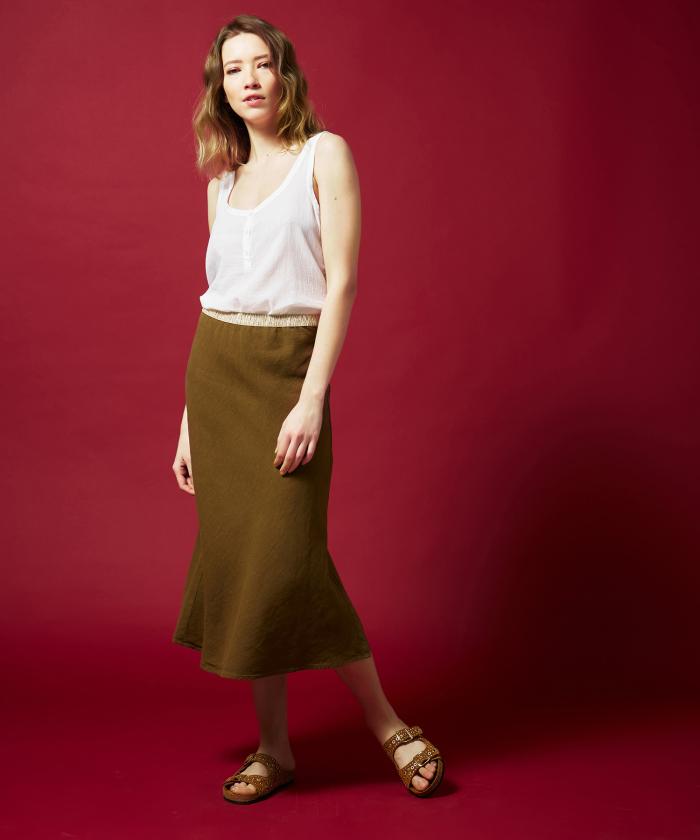 Yucca brown linen Jima skirt