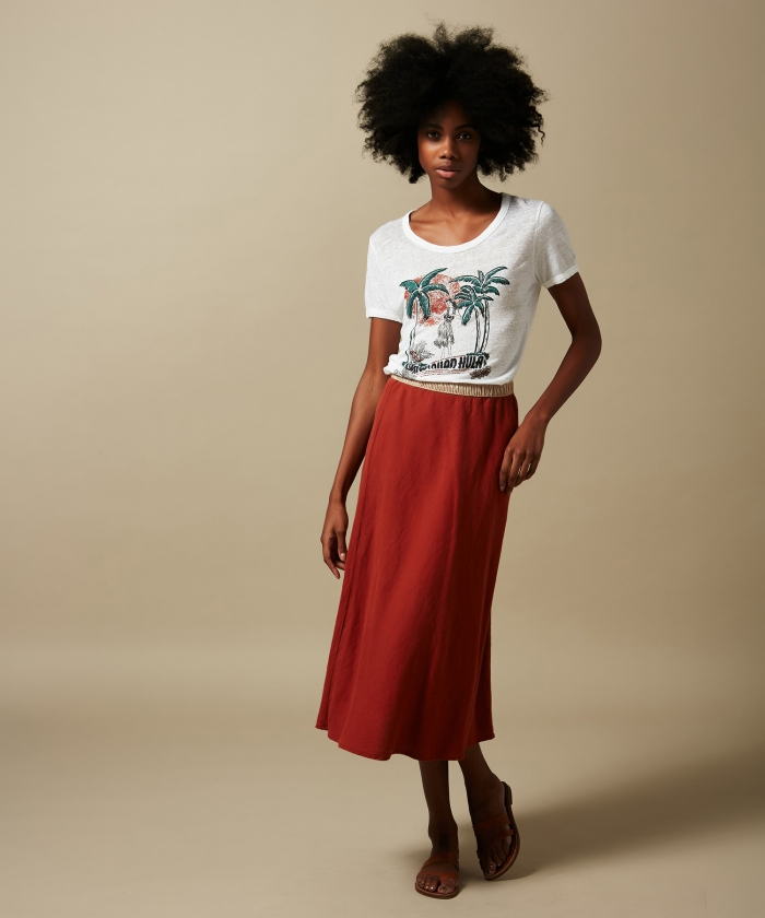 Terracotta linen Jima skirt