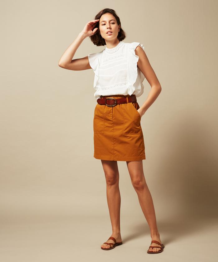 Joss peanut cotton skirt