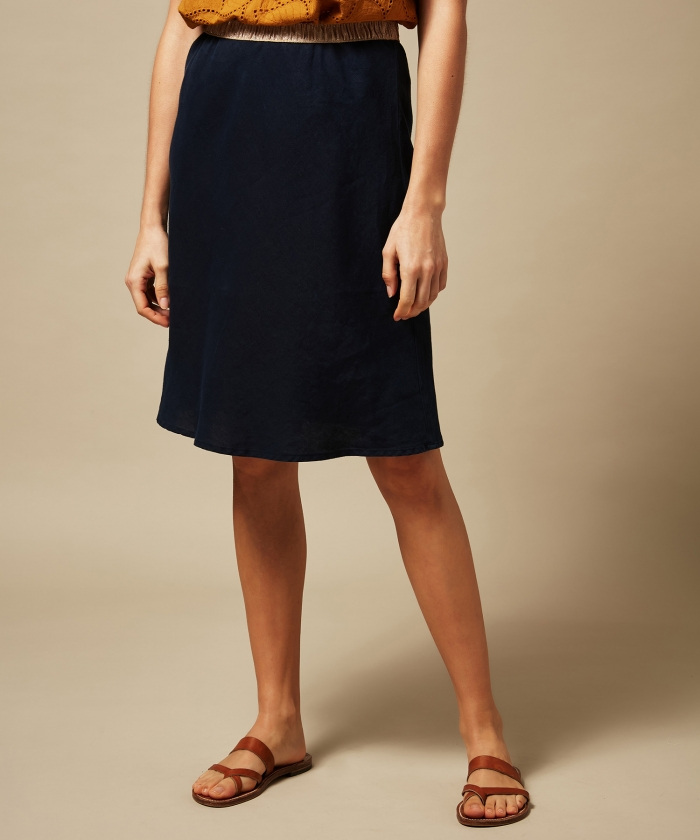 Night blue linen Judith skirt