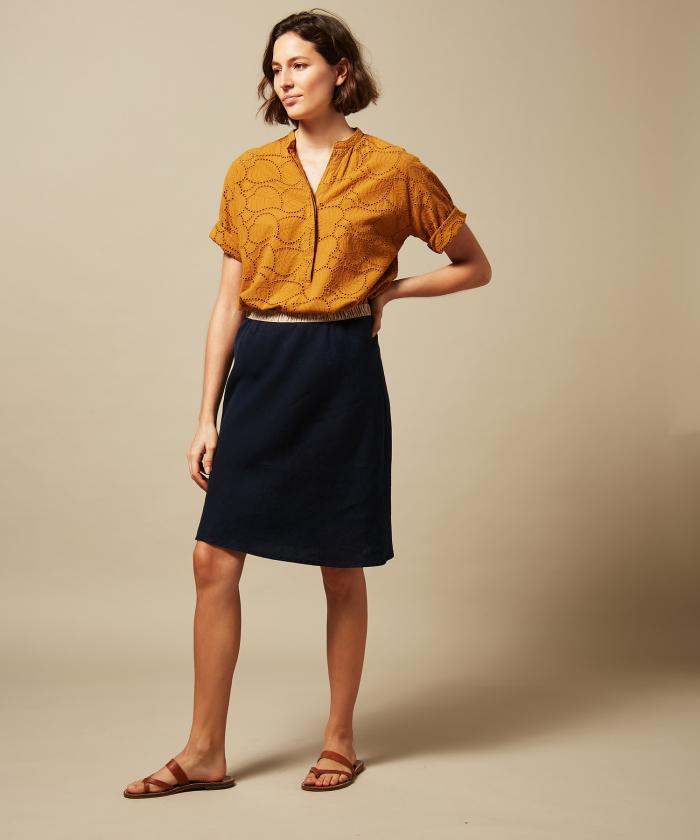 Night blue linen Judith skirt