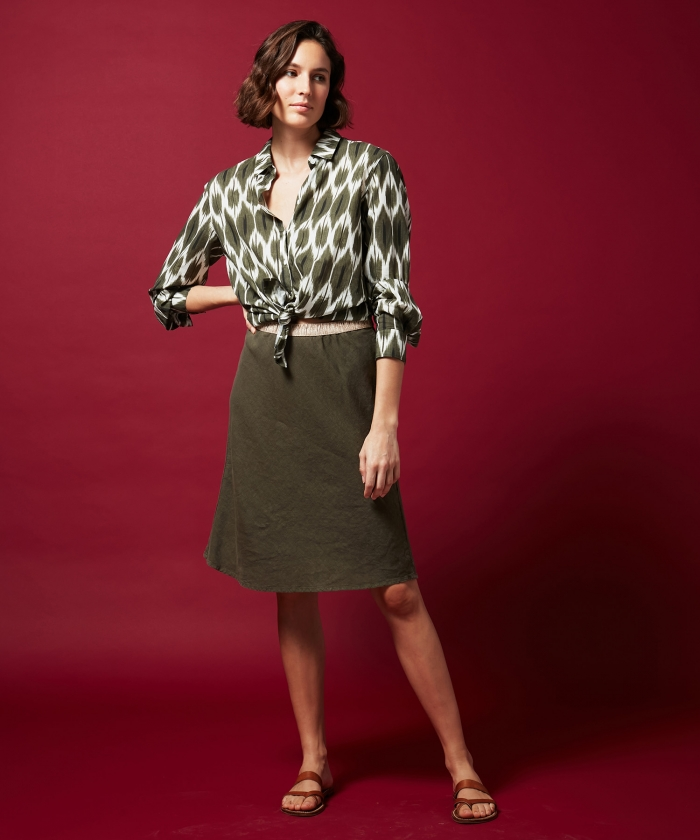 Army green linen Judith skirt