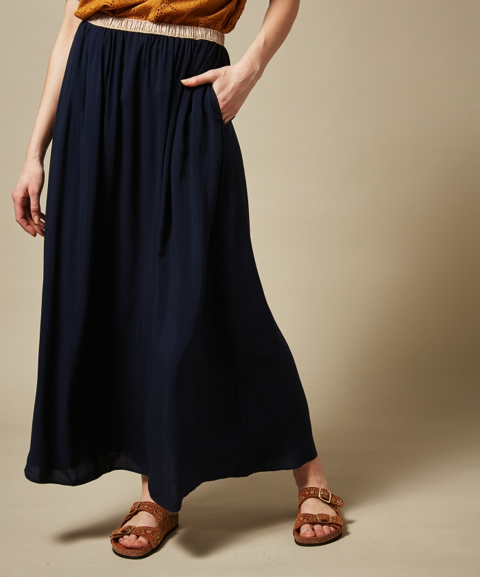Night blue Juillet long skirt