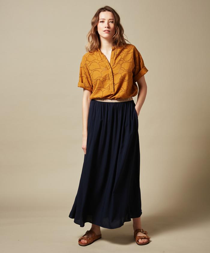 Night blue Juillet long skirt