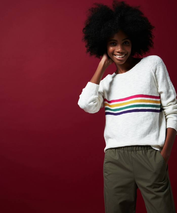 Mafalda striped slub cotton sweater