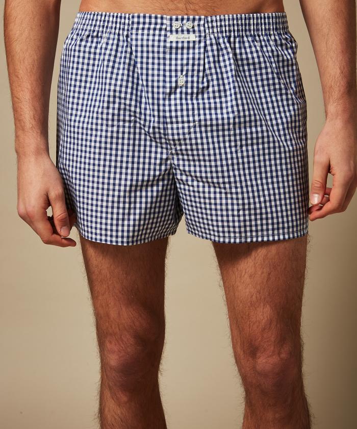 Blue gingham boxer shorts