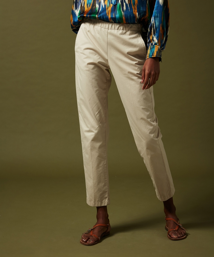 Paolo pants in sand cotton twill