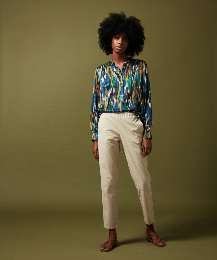 Pantalon Paolo en gabardine de coton sable