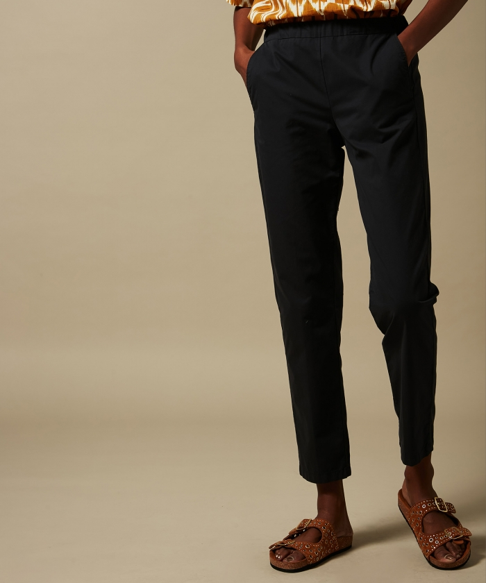Paolo pants in charcoal cotton gabardine