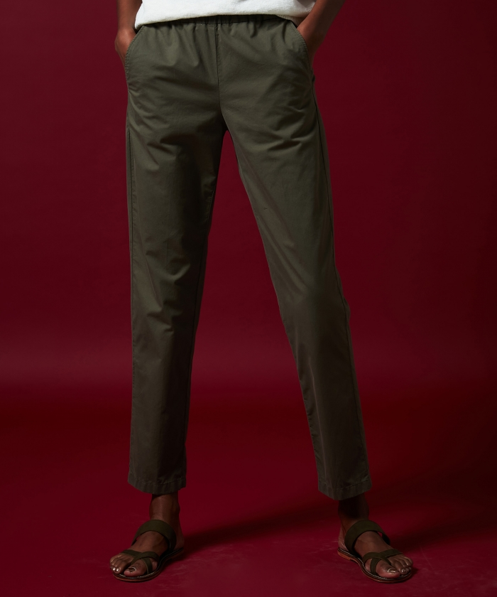 Paolo pants in army cotton twill