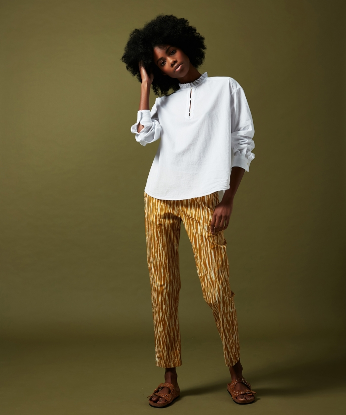 Yellow lines printed Paolo pants